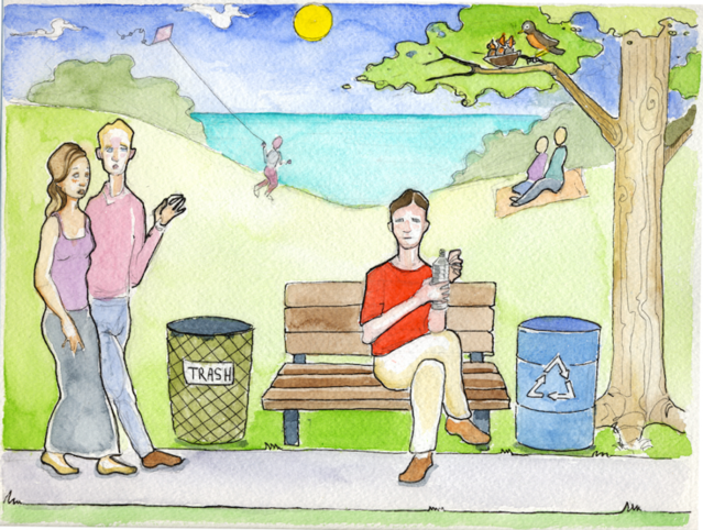 Illustration of a park with a man sitting on a bench between a recycling container and a trash container