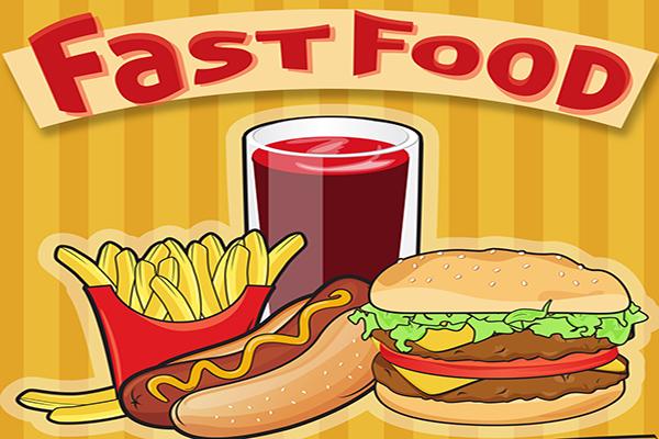 Cartoon image of fast food - french fries, hot dog, cheeseburger and soda
