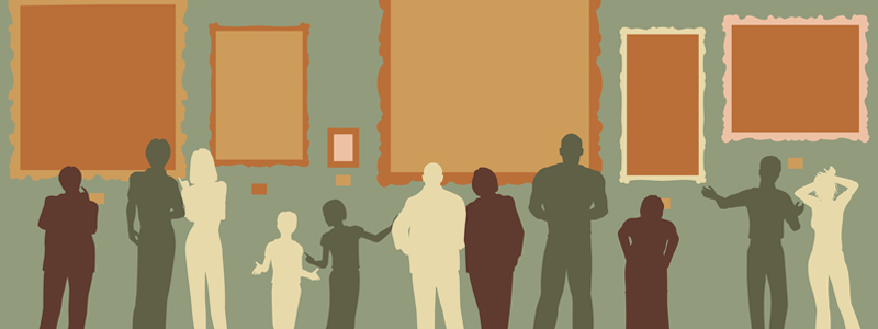 Illustration of people standing in front of art hanging on the wall