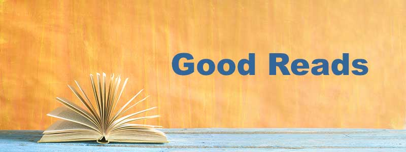 Tellow background, blue forground, with an open book laying on top. The words Good Reads appears next to the book