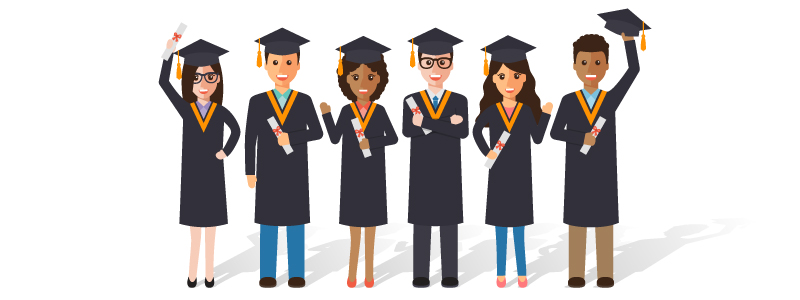 Illustration of graduates celebrating