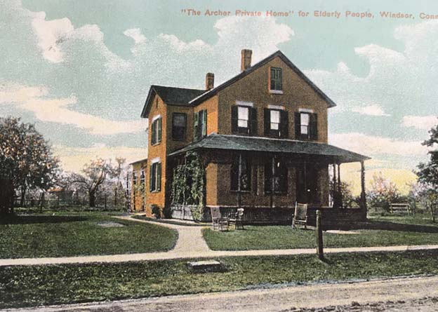 """Postcard of Sister Amy's """"Murder Factory"""" from the Windsor Historical Society"""