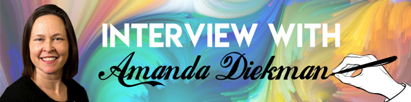 Image of Amanda Diekman and the text Interview with Amanda Diekman with an illustration of a hand writing her last name
