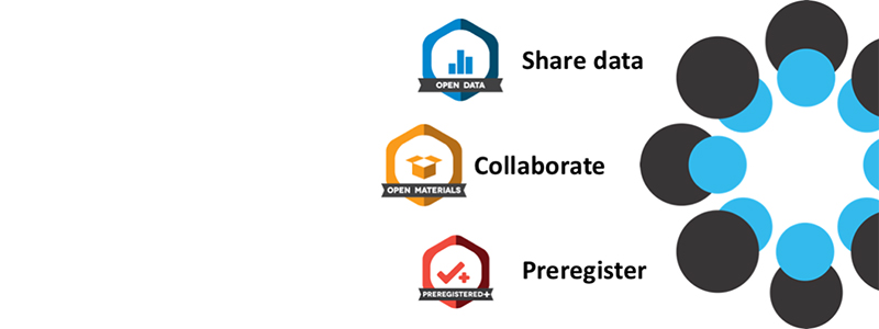 Open Data: Share Data, Open Materials: Collaborate, Preregistered: Preregister