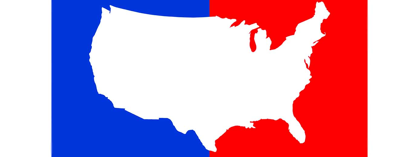 IMage of the US outline with half blue and half red on the outside