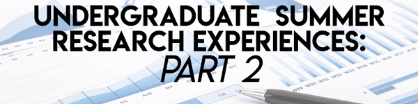 Image of research graphs behind the text Undergraduate Research Experiences: Part 2