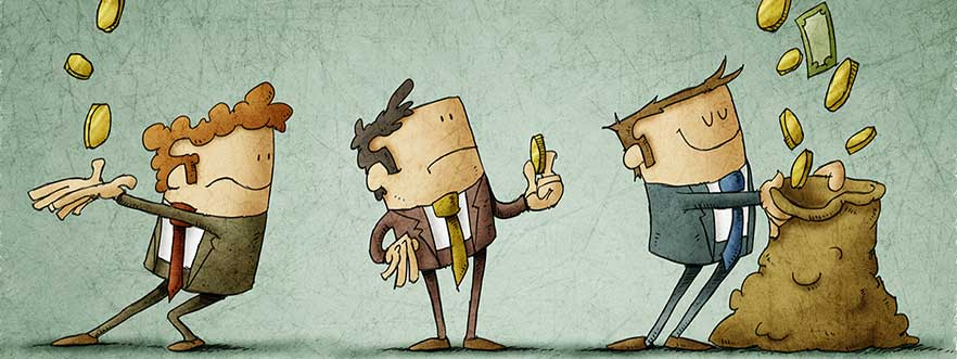 cartoon of three businessmen receiving the money that falls from three pipes in different amounts.