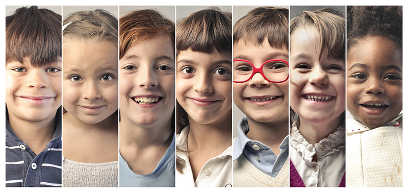 Image of young children's faces