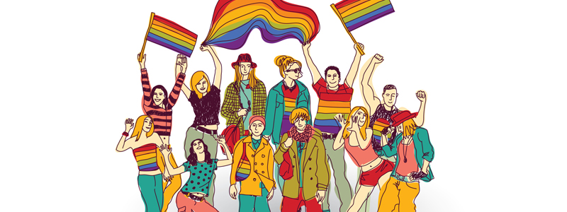 Illustration of group of people celebrating and waving Gay Pride flags