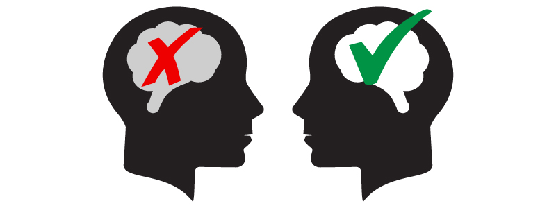 Illustration of two black silhouetted faces looking at each other with the brain highlighted (left brain has a red X through it right brain has a green check mark)