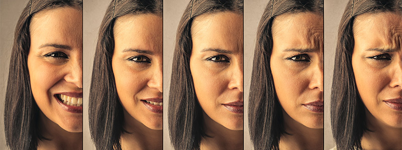 Image of woman showing multiple expressions