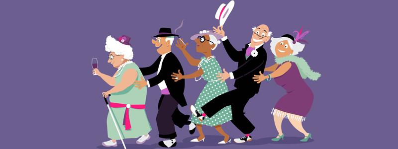 Illustration of older men and women dancing in a line