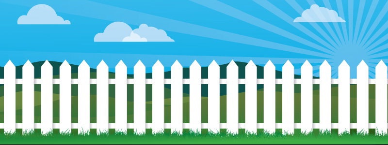 Illustration of white picket fence in front of a green field and blue sky with clouds