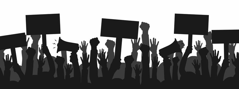 Illustration of arms extended skyward in protest, holding signs and megaphones