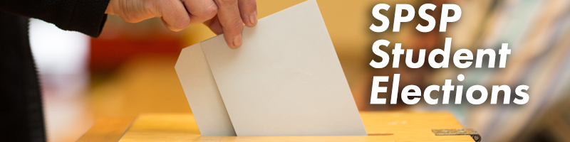 Image of ballot being cast with the text SPSP Student Elections