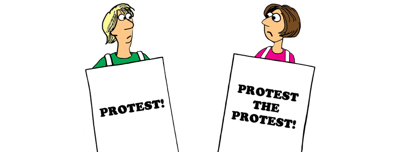 """Illustration of man and woman looking at each other holding signs that say """"Protest!"""" and """"Protest the protest!"""""""