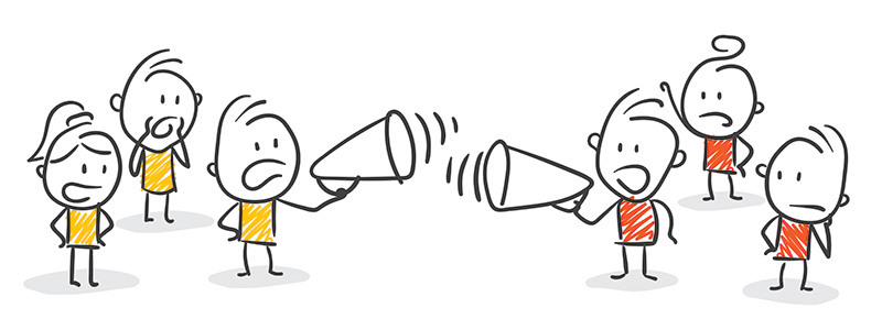 Two groups of stick figures shouting at each other
