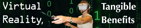 Image of woman engaging in virtual reality over a digital matrix background