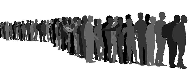 Silloueetes of men standing in a long line, various ages and shapes, against a blank background