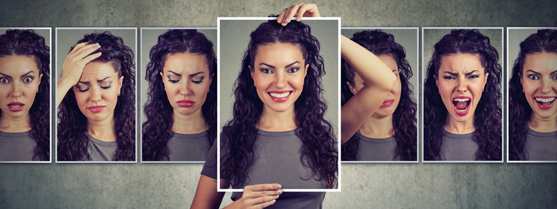 Photos of a woman expressing different emotions